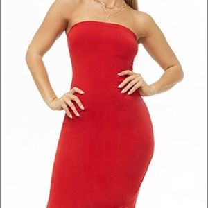 Red strapless tight dress